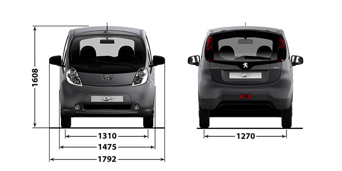 Peugeot iOn front og bak med mål