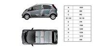 Peugeot iOn med transparent karosseri og mål
